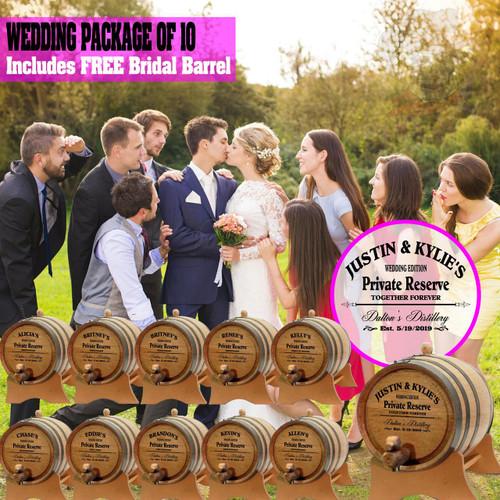 Wedding Package - Party Of 10 + FREE Bridal Barrel - Engraved Commemorative Barrels