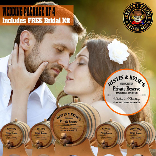 Wedding Package - Party Of 4 + FREE Bridal Barrel - Engraved Commemorative Kits