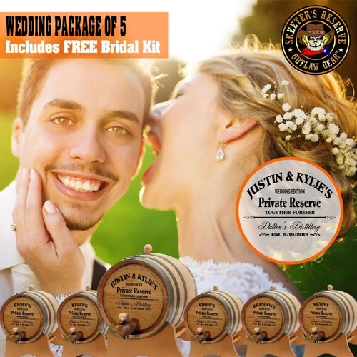 Wedding Package - Party Of 5 + FREE Bridal Barrel - Engraved Commemorative Kits
