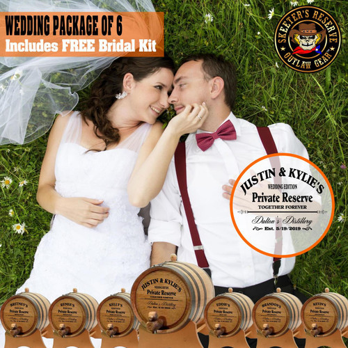 Wedding Package - Party Of 6 + FREE Bridal Barrel - Engraved Commemorative Kits