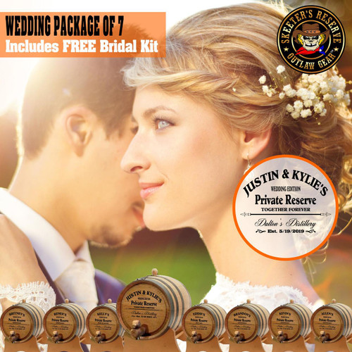Wedding Package - Party Of 7 + FREE Bridal Barrel - Engraved Commemorative Kits