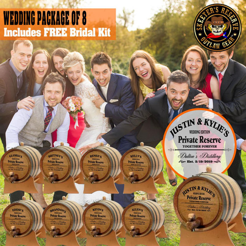 Wedding Package - Party Of 8 + FREE Bridal Barrel - Engraved Commemorative Kits