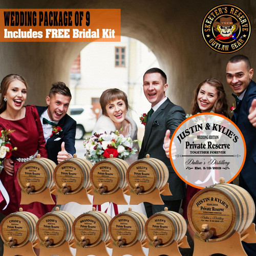 Wedding Package - Party Of 9 + FREE Bridal Barrel - Engraved Commemorative Kits