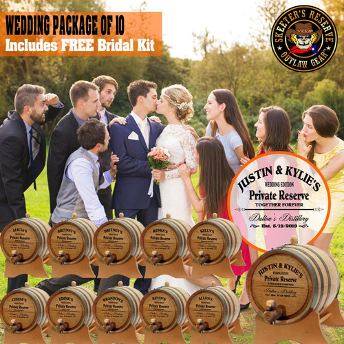Wedding Package - Party Of 10 + FREE Bridal Barrel - Engraved Commemorative Kits