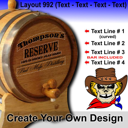 Create Your Own Design (992) - Layout 3 (Text - Text - Text - Text) - Personalized American Oak Aging Barrel