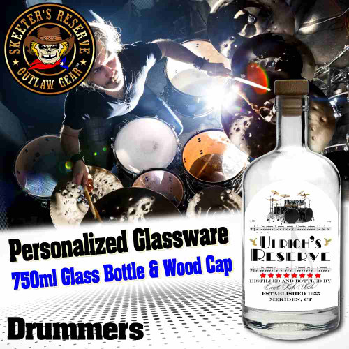 Personalized Private Label 750ml Glass Bottle with Wood Cap (B002) - Drummers