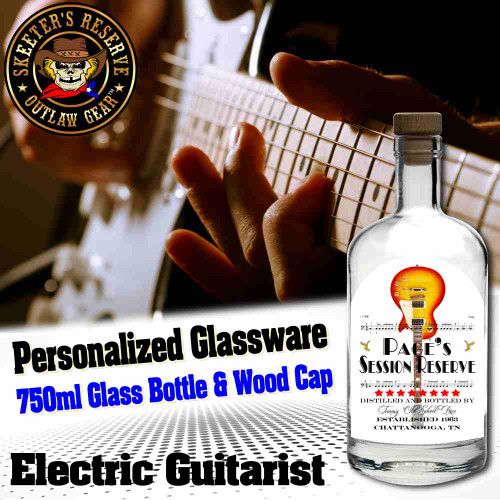 Personalized Private Label 750ml Glass Bottle with Wood Cap (B003) - Electric Guitarists