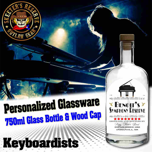 Personalized Private Label 750ml Glass Bottle with Wood Cap (B005) - Keyboardists