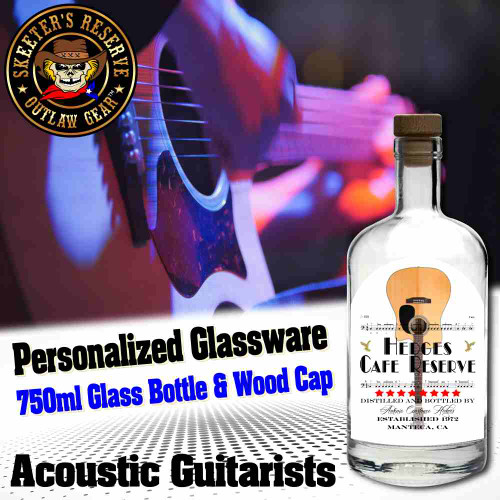 Personalized Private Label 750ml Glass Bottle with Wood Cap (B006) - Acoustic Guitarists