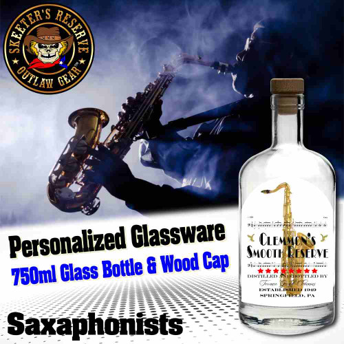 Personalized Private Label 750ml Glass Bottle with Wood Cap (B007) - Saxaphonists