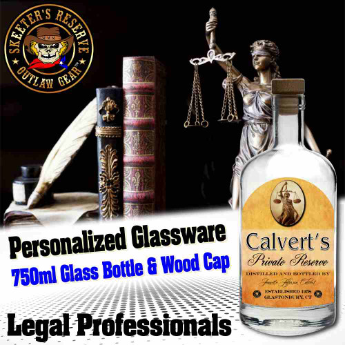 Personalized Private Label 750ml Glass Bottle with Wood Cap (B008) - Legal Professionals