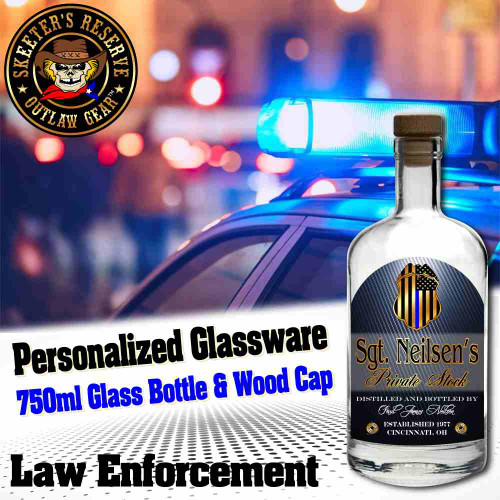 Personalized Private Label 750ml Glass Bottle with Wood Cap (B009) - Law Enforcement (Blue Lives)