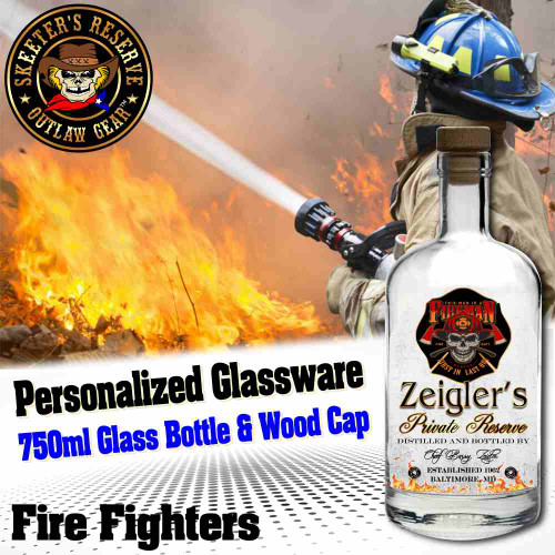 Personalized Private Label 750ml Glass Bottle with Wood Cap (B010) - Fire Fighters