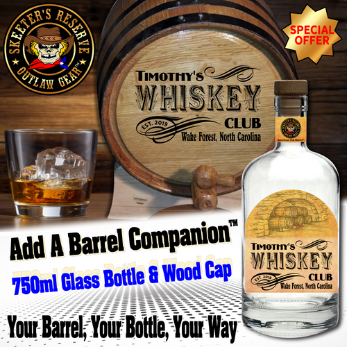 Personalized Private Label 750ml Glass Bottle with Wood Cap - Includes Your Barrel Design On The Bottle