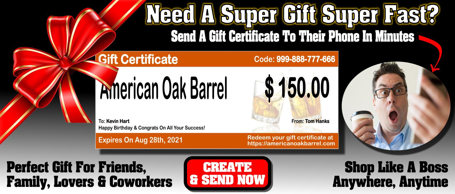 American Oak Barrel™ Gift Certificates - Spread Good Cheer