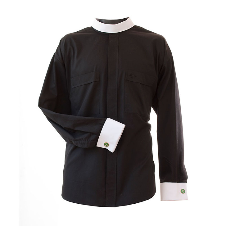 Long Sleeve Neckband Shirt w/ French Cuffs