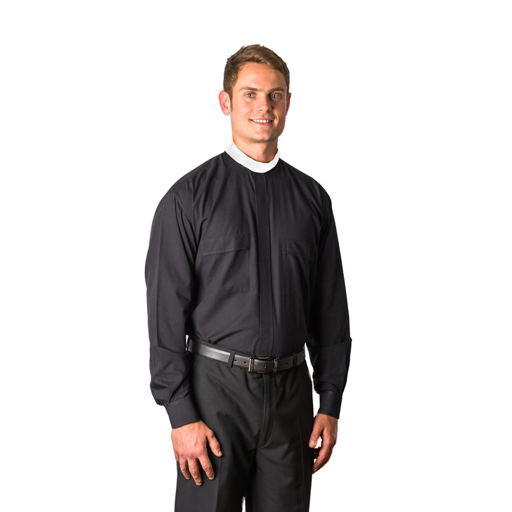 Black Long Sleeved Neckband Clerical Shirt