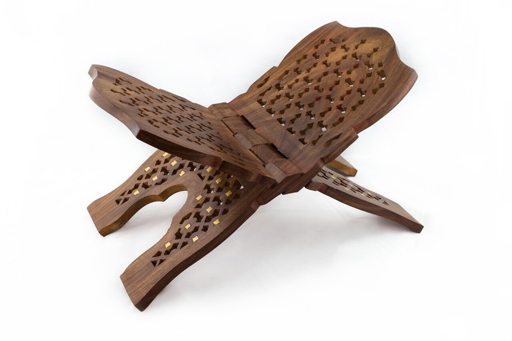 Carved Wooden Bible / Book Stand; collapsible X-style