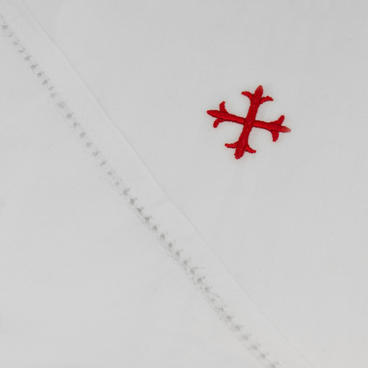 Red Embroidered Cross in White 100% Cotton