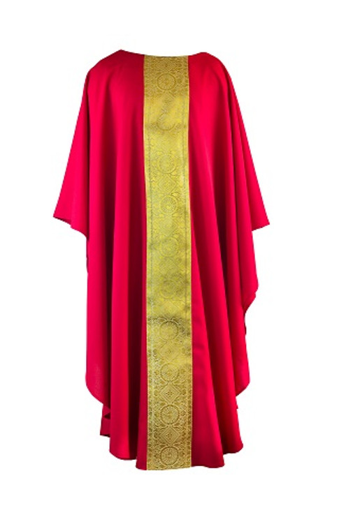 Gold Orphery Chasuble in Red, no collar.