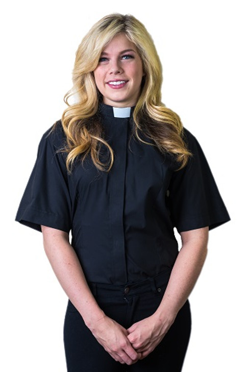 Women's Short Sleeve  Tab Collar Black Clerical Blouse/shirt