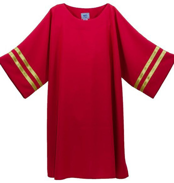 Simple Dalmatic with gold Galloon trim Shown in Red