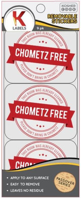The Kosher Cook Chometz Free Removable Stickers, 9k