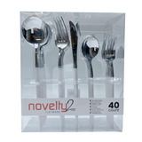 Novelty Collection Combo White/Silver Flatware, 40 ct