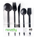 Novelty Collection Combo Black Flatware, 40 ct