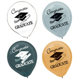 Graduation Latex Balloons - Gold, Siliver, Black & Clear, 15 ct