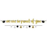 Proud Parent Letter Banner Kit - Black, Silver, Gold, 2 ct