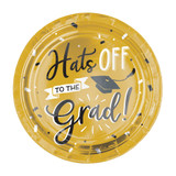 "Grad Hats Off! Metallic Round 7"" Plates, 8 ct"