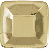 5' Gold Square Paper Plates, 8 ct