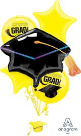 Anagram Yellow Grad Balloon Bouquet, 5pk