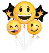 Anagram Emoticon Smiles Balloon Bouquet, 5pk