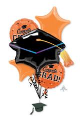 Anagram Orange Grad Balloon Bouquet, 5pk