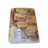Bourekas are served at home dinners, at picnics, at wedding buffets and soccer matches ��� in fact, anywhere and anytime people need them.  The flaky, savory pastries are eaten out hand, and they���re unashamedly crumby, so discreet, post-snack brushing-down of shirt fronts is usually called for. Nobody minds. Everybody knows about bourekas!