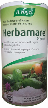Brilliant blend of celery, leek, watercress, onions, chives, parsley, lovage, garlic, basil, marjoram, rosemary, thyme, and kelp     All organically grown     Replaces dreary conventional table salt     Use it as a condiment to perk up your recipes or at every meal to salt your food the healthy way