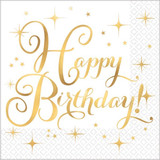 "Gold ""Happy Birthday"" Luncheon Napkins 16pk"