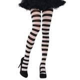 BLACK & WHITE STRIPE ADULT TIGHTS 1 SIZE