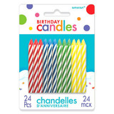 MULTI COLOR BIRTHDAY CANDLES 24PK