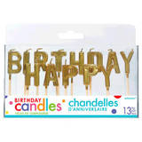 GOLD PICK HAPPY BIRTHDAY CANDLES - 1 SET