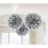SILVER PAPER FLUFF DECORATION 3PK