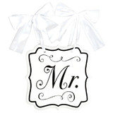 """MR"" WEDDING CHAIR SIGN WITH BOW"