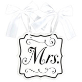 """MRS"" WEDDING CHAIR SIGN WITH BOW"