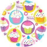 """9"""" BIRTHDAY CUPCAKES PLATES 8PK"""