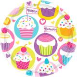 """7"""" BIRTHDAY CUPCAKE PLATES 8PK"""