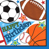 "6.5x6.5"" ""Happy Birthday"" Sports Balls Design Luncheon Napkins 16pk"