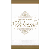 """4"""" x 7"""" """"You Are Always Welcome"""" Gold Premium Guest Paper Towels 16 Ct"""