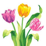 "6.5"" Bright Tulips Lunch Napkin"